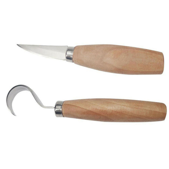 2x Wood Spoon Carving Cutter Set Stainless Steel Crooked Hooked Cutter too UPQ
