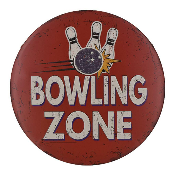 12'' BOWLING ZONE Metal Tin Sign Gym Sports Bar Wall Hanging Decor Plaque