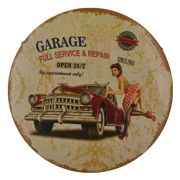 Garage Metal Tin Sign Poster Plaques Race Cars Auto Racing Motel Garage #1