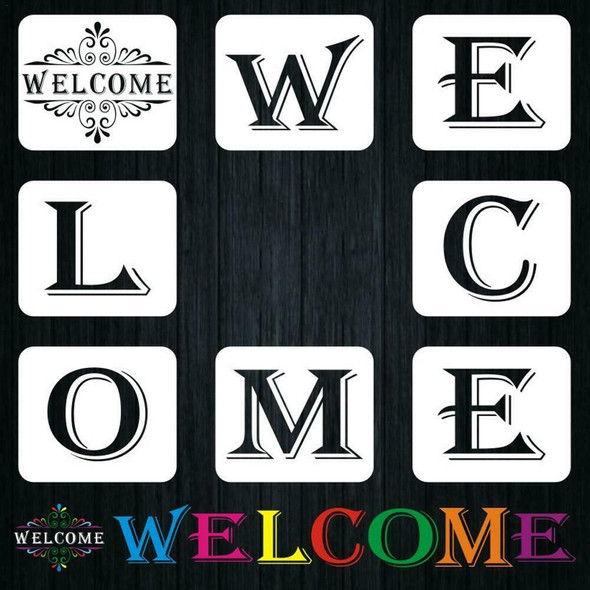 8PCS Reusable Welcome Sign Stencils For Painting On Wood Large Individual Temp