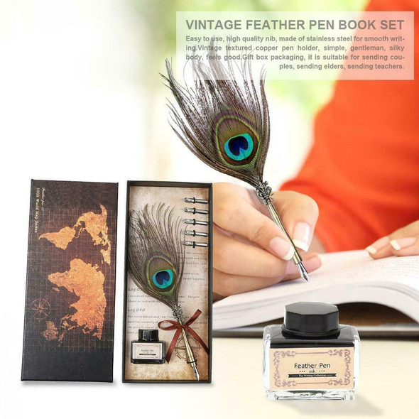Retro Peafowl Feather Dip Pen Writing Ink Set Fountain Pens Stationery Gift #JT1