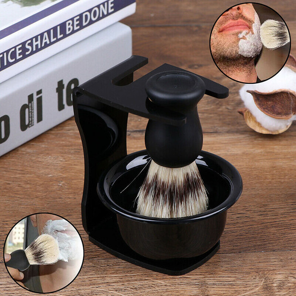 3 In 1 Shaving Soap Bowl With Brush And Stand Bristle Hair Shave Brushes Mug BX