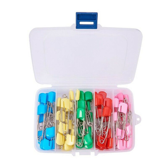 1 Box (100pcs) 2 Inch Assorted Color Plastic Head Pins Baby Safety Pins Dia G9T5