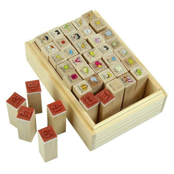 40pcs/set Happy Life Diary Girl Cute Cartoon Mounted Rubber Stamp Wooden Bo Q2Z8