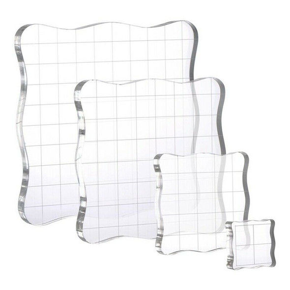 4Pcs/Set Stamps Pad Tools DIY Stamp Acrylic Block Pad with Grid Grip for Cl X2H3
