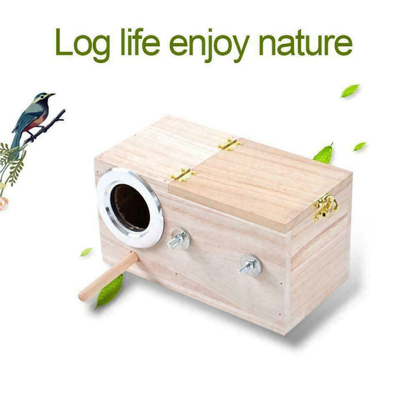 Wooden Small Bird Breeding Box Nesting Budgie House For Bird Parrots Cage D4X7