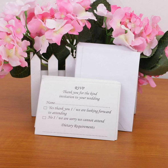 50pcs wedding banquet RSVP reply card with envelope X1Y9