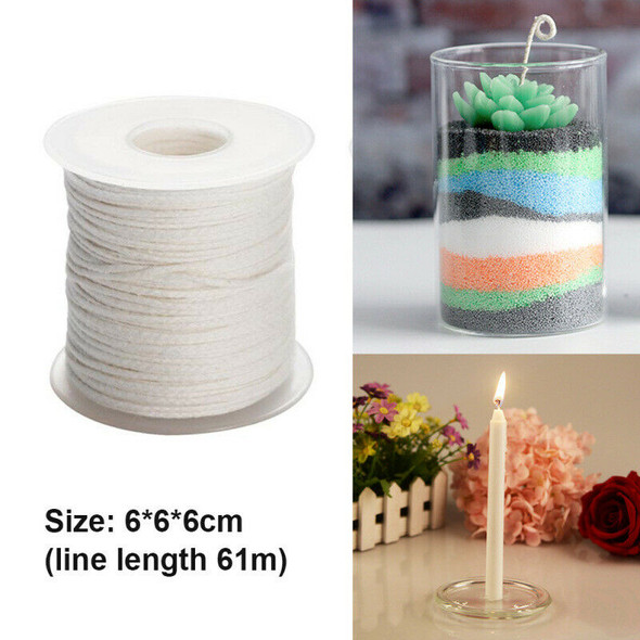 New Spool of Cotton Square Braid Candle Wicks Wick Core 61m hjs KXD
