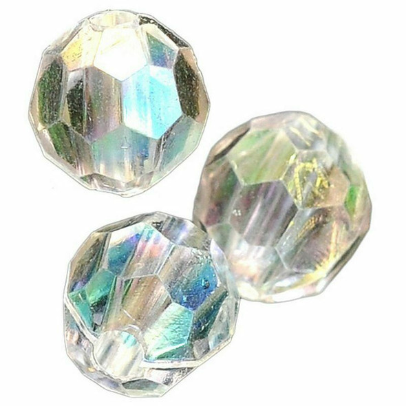 5X(500x Transparent AB Color Round Faceted Acrylic Crystal Spacer Beads 6x6V7O4)