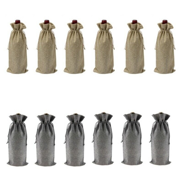 12Pcs Durable Wine Bags Burlap Red Wine Bottle Glass Bag Travel Pouch Gift WB6N6
