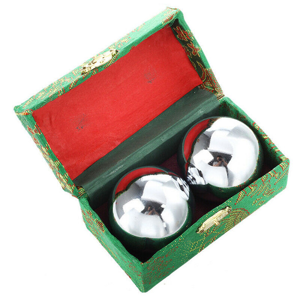 52mm Baoding Balls Chinese Health Ministry Stress Balls - Chrome Color X4W7