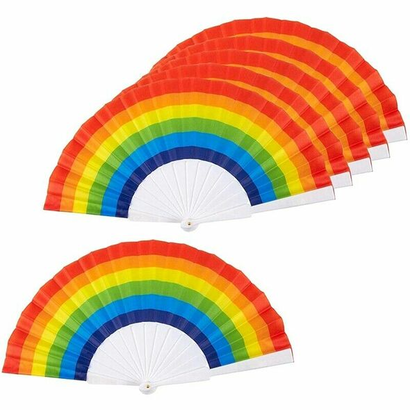 Rainbow Fans-Pack Of 6-Rainbow Party Supplies For Rainbow-Themed Parties An Y1B6