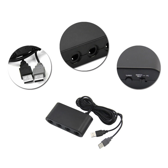 4 Ports Game Controller Adapter USB Cable for Nintendo Switch GameCube Wii U PC