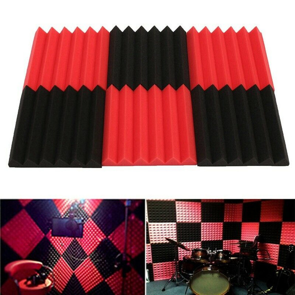6Pcs 30X30X5Cm Wedge Sound Insulation Studio Foam Red/Black Studio Foam MusiG1S9