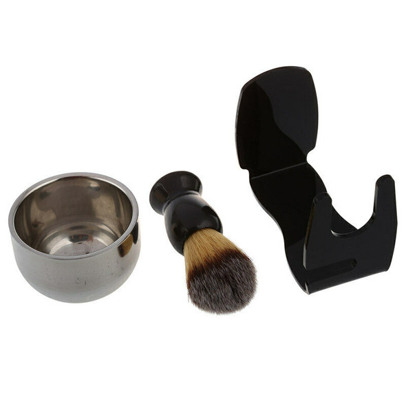 Badger bristle shaving brush + Acrylic bristle holder + Bowl + Shaving soap I8D9