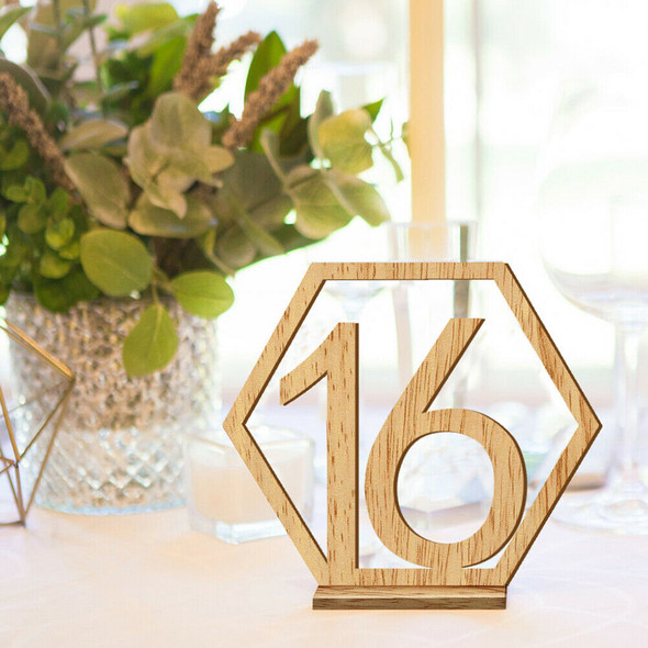 20pcs Hexagon 1-20 Wooden Table Numbers with Holder Base Wedding Table Dec3C