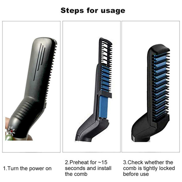 Upgraded Men's Styling Comb Electric Straightener Hair Curler Massage Comb