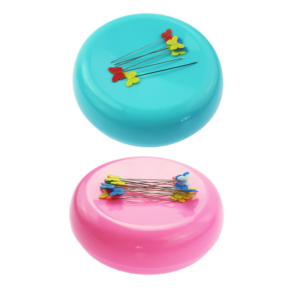 2pcs Round Magnetic Sewing Pin Cushion Pin Holder Caddy Storage Sewing Tool
