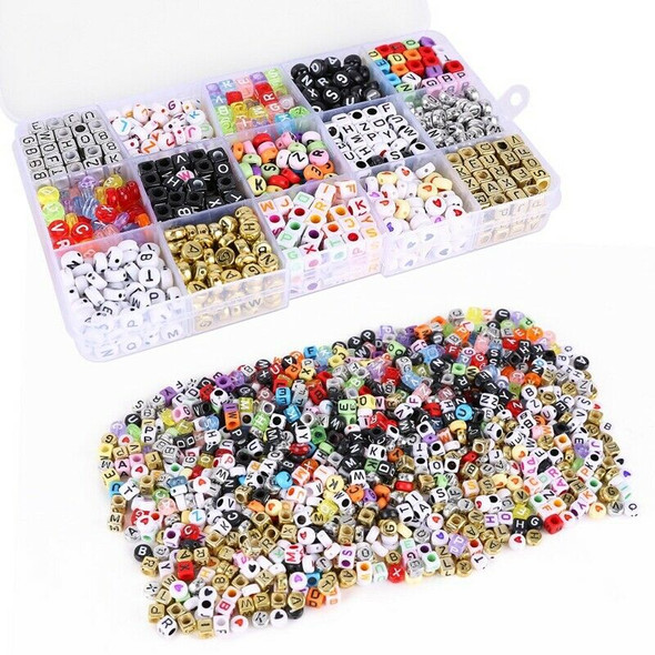 Kit of 1100 letter alphabet beads for braided bracelet with storage box A2B3