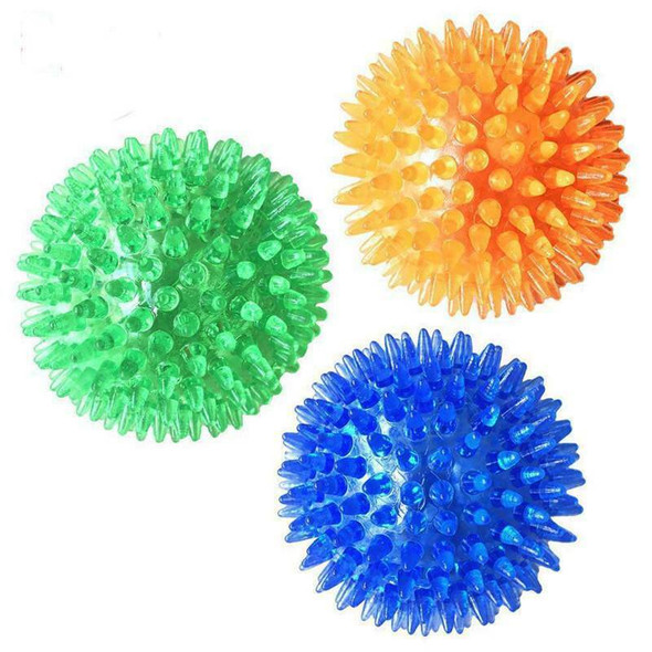 3 Pcs Pet Squeaky Chewing Balls Puppy Chew Toys Soft Stab Balls Cleaning Te H2N7