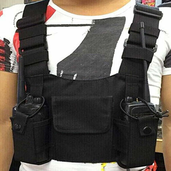 Radios Pocket Radio Chest Harness Chest Front Pack Pouch Holster Vest Rig C Y2J2