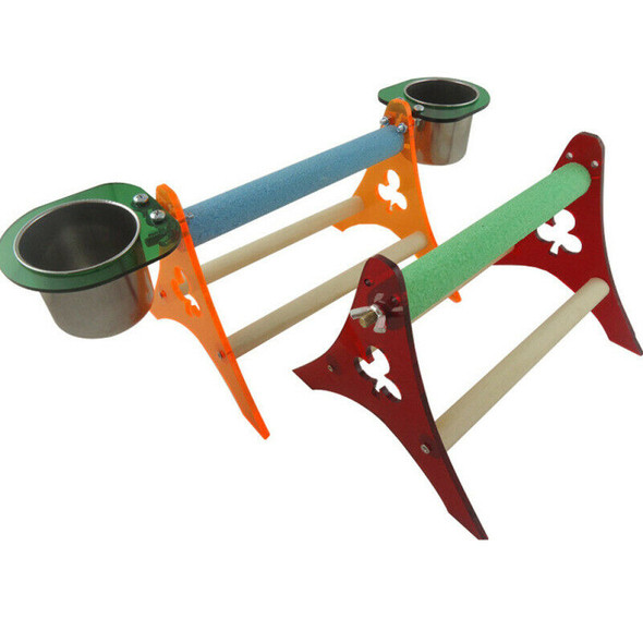 Funny Parrot Bird Perch Stand Play Toys Gym Wooden Activity Table Top Pla OTM