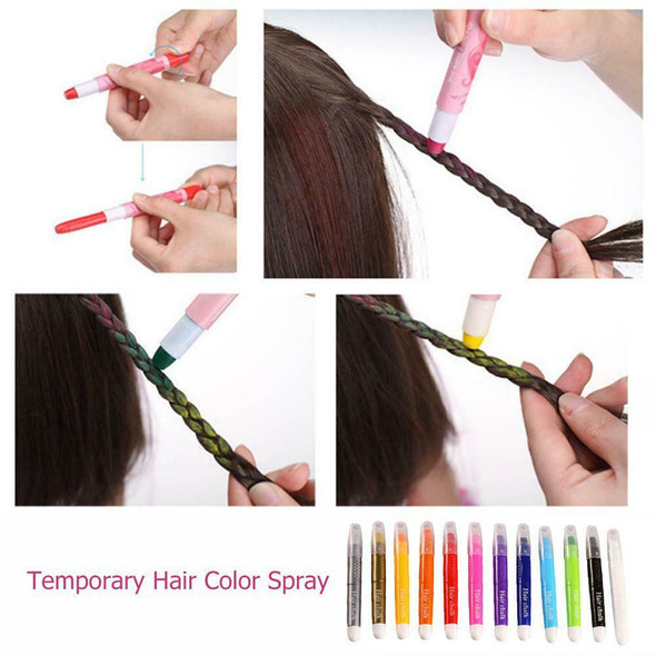 12 Colors Crayons Temporary Salon Kit Dye Chalk Pastel Beauty Hairstyle Tools