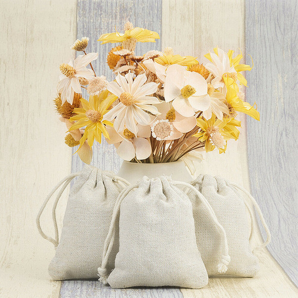 50pcs Drawstring Bag Cotton Linen Jewelry Candy Gift Pouch For Xmas Party Favor