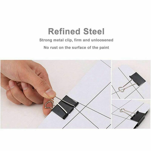 Binder Clips Paper Clamps Assorted Sizes 100 Count (Black), X Large, Large, C6R9