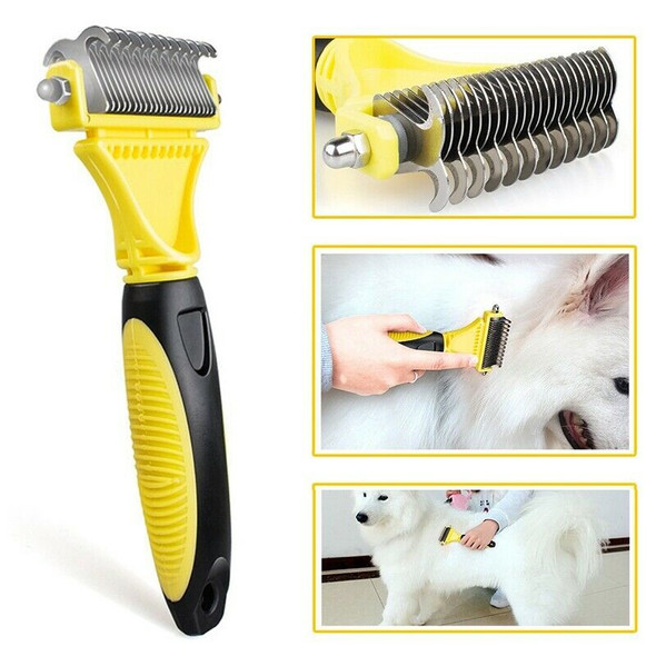 Double Sided Pet Dematting Comb   Stainless Steel Grooming Brush for Small, Q2B8
