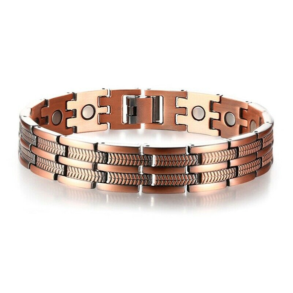 Mens Elegant Pure Copper Magnetic Therapy Link Bracelet Pain Relief for Art R8S2
