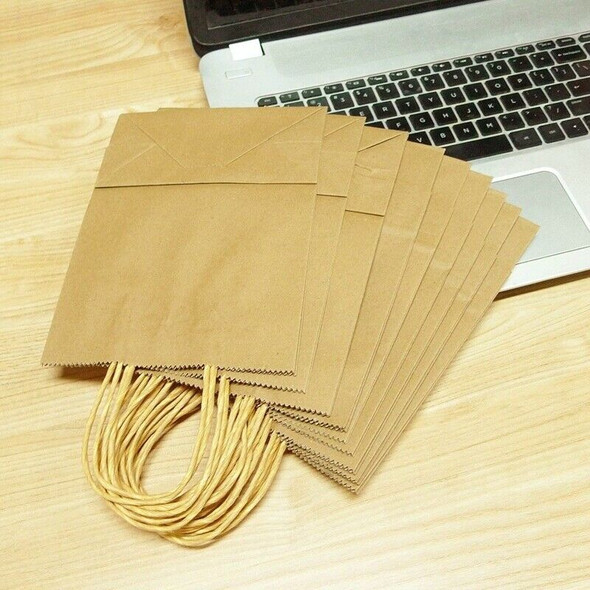 20 X Brown Paper Bags with Handles - Party and Birthday Gift A Handy Bag( 1 V1U2