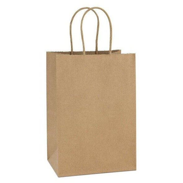 20Pcs 5.9 x 3.15 x 8 Inches Kraft Paper Bags Small Paper Gift Bags with Han O3A5