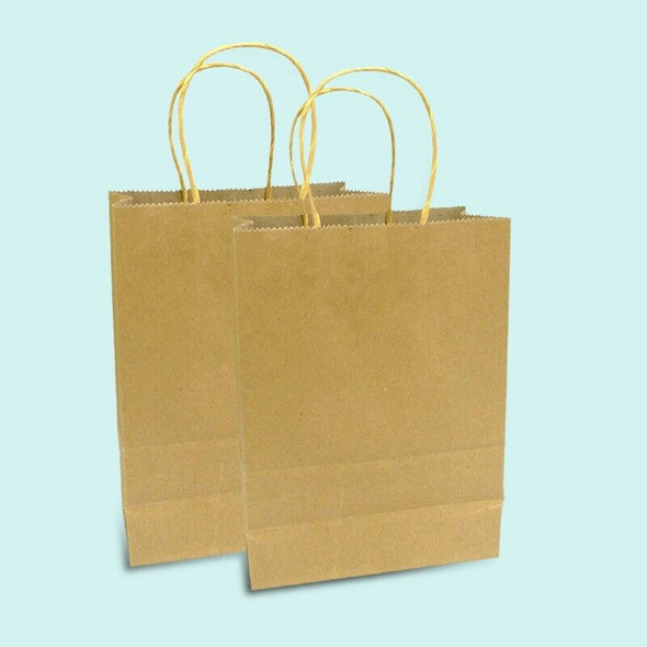 20 X Brown Paper Bags with Handles - Party and Birthday Gift A Handy Bag( 1 J4O7