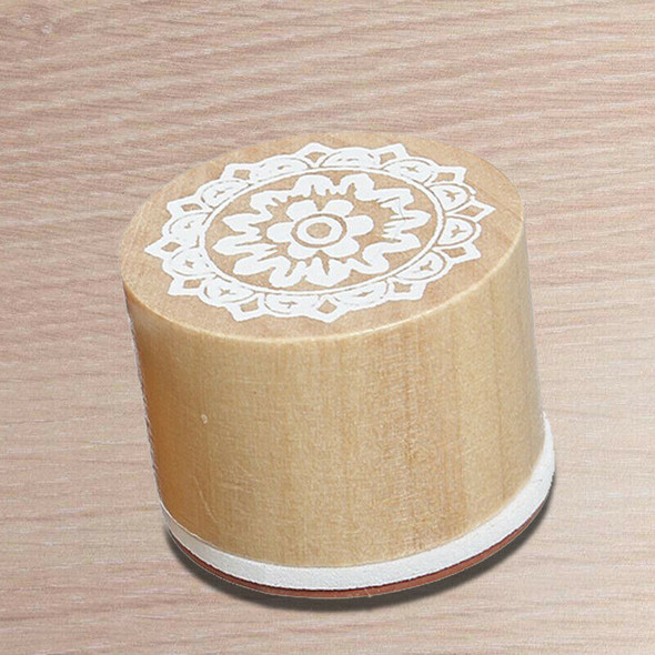 5X(6 Assorted Wooden Rubber Stamp Round Handwriting Floral Flower Craft B2D7)