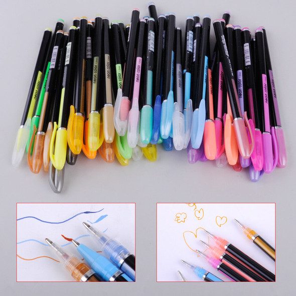 48 Color Gel Pen Neon Pastel Glitter Ink Pens Scrapbooking Drawing Writing Gifts