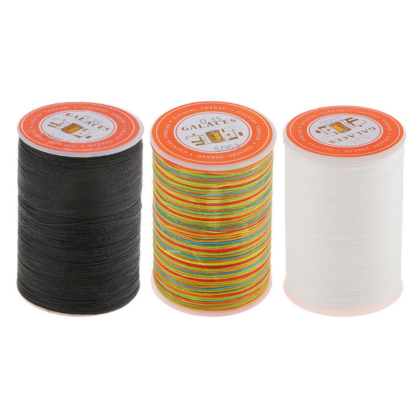 3pcs 328Yds Leather Sewing Round Waxed Thread Cord 0.35mm DIY Hand Stitching