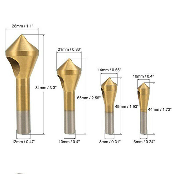 Titanium Coated HSS Countersink Deburring Drill Bit For Metal Steel Plasti NVX