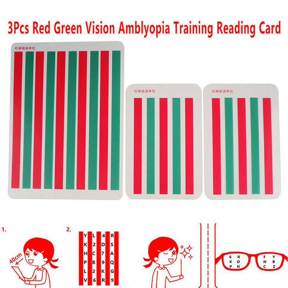 3Pcs Red Green Vision Myopia Strabismus Amblyopia Training Reading Disinhib&+
