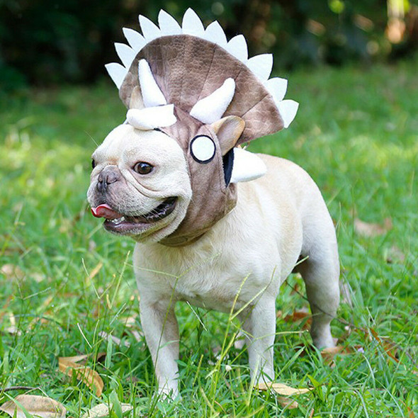 Funny Dog Pet Cat Halloween Costume Triceratops Hat for Parties Birthdays