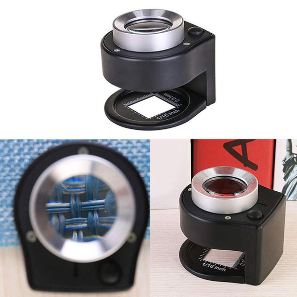 30X Linen Tester Loupe with LED and UV Light, Full Metal Map Magnifying ZXB