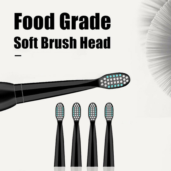 5 Mode Sonic Rechargeable Electric Toothbrush 4x Brush Heads Waterproof Ipx B6F1