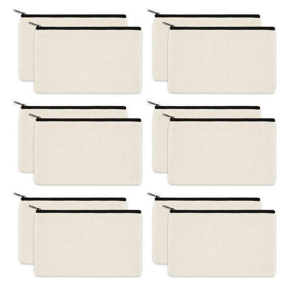 12 Pack Canvas Zipper Bags, Blank DIY Craft Pouches for Travel Cosmetic Mak H3A1