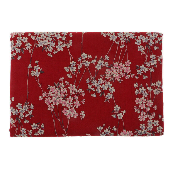 100x140cm Chinese Floral Plum Blossom Printed Sewing 100% Cotton Fabric Red
