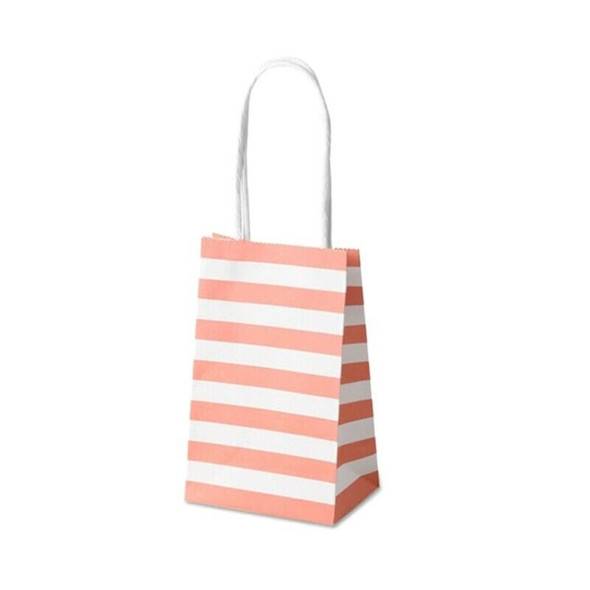Striped White Kraft Paper Bag Korean Packaging Small Gift Carry Bag Special F7I6