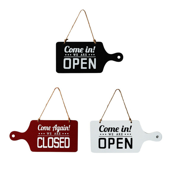 3pcs Open Closed Sign Welcome Wooden Hanging Plaque for Door Window Bar Cafe