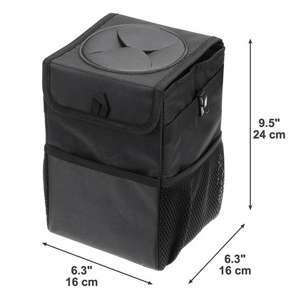 Car Trash Can with Cover Car Back Storage Box Folding Waterproof Trash Can  G5I7