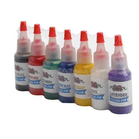 7pcs Color Tattoo Inks Pigment 1/2 OZ(15ml) Bright Set for Tattoo Kits Cheap