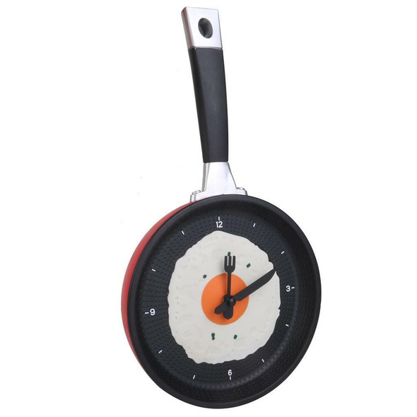 Fried Egg Frying Pan Wall CLOCK Novelty Cutlery Kitchen Cafe DIY Decoration Red