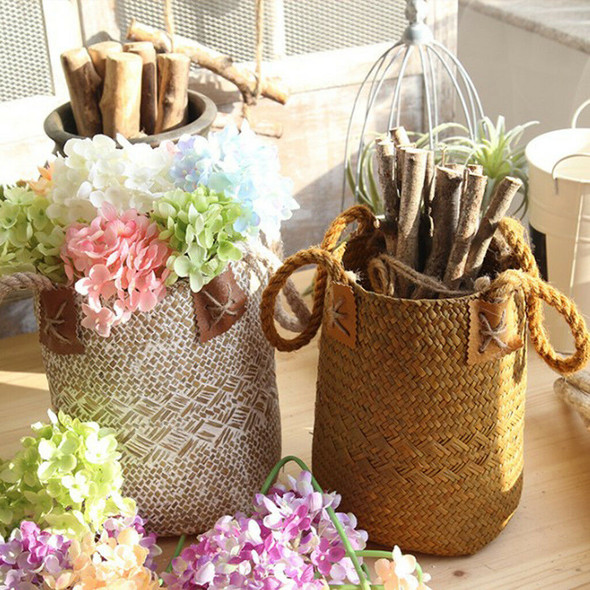Folding Seagrass Basket - Planter Holder With Handle Laundry Basket White L